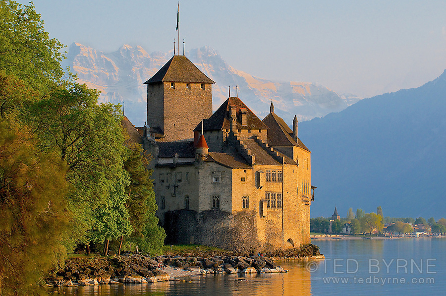 Château de  Chillon with Dents-du-Midi rising in the background