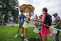 Hyo Joo Kim (KOR) signs autographs for young fans enroute to the 16th tee during Wednesday's preview of the 72nd U.S. Women's Open Championship, at Trump National Golf Club, Bedminster, New Jersey. 7/12/2017.<br /> Picture: Golffile | Ken Murray<br /> <br /> <br /> All photo usage must carry mandatory copyright credit (&copy; Golffile | Ken Murray)