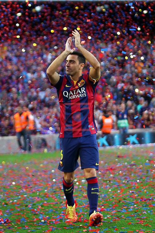 League BBVA 2014/2015. Game: 38.<br /> FC Barcelona vs Deportivo: 2-2.<br /> Xavi Hernandez.