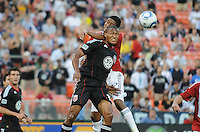 DC United defender Jordan Graye (16) goes up to head the ball.  DC United defeated Chivas USA 3-2 at RFK Stadium, Saturday  May 29, 2010.