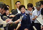 October 18, 2016, Tokyo, Japan - Gov. Yuriko Koike answers questions from the media following her meeting with International Olympic Committee President Thomas Back at the City Hall in Tokyo on Tuesday, October 18, 2016. The IOC chief and the governor discussed a proposed move of the rowing and canoe events out of Tokyo as part of her attempt to cut back on spending for the 2020 Tokyo Olympics.  (Photo by Natsuki Sakai/AFLO) AYF -mis-