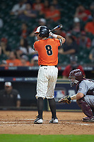 Hunter Hearn (8) of the Sam Houston State Bearkats at bat against the Mississippi State Bulldogs during game eight of the 2018 Shriners Hospitals for Children College Classic at Minute Maid Park on March 3, 2018 in Houston, Texas. The Bulldogs defeated the Bearkats 4-1.  (Brian Westerholt/Four Seam Images)