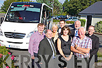 At the launch on Tuesday afternoon in the Ballygarry Hotel of the new Kerry/Cork Cancer Health Link bus bought by the Kerry Cancer Support Group were: Dan Horan and Sandra Breen, Sean Prendergast (Manager KCSG), Mary Lynch (KCSG),  Cathal de Lacey (De Lacey Pharmany's) Jay Galvin (KCSG) and Fr Pat Crean Lynch.