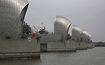 River Thames flood defence barrier viewed from the south shore, London, England