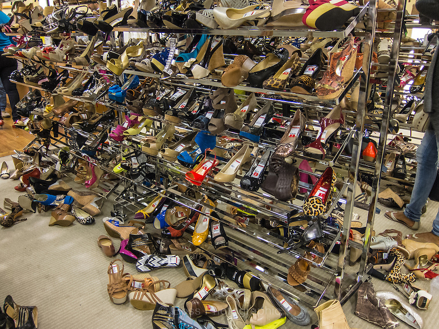 Messy department store shoe rack, New York City