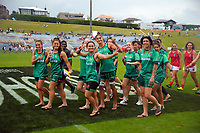 The Manawatu Women's team during the opening ceremony and teams parade on day one of the 2018 Bayleys National Sevens at Rotorua International Stadium in Rotorua, New Zealand on Saturday, 13 January 2018. Photo: Dave Lintott / lintottphoto.co.nz
