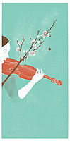 Woman playing violin in nature with blossoming twig bow ExclusiveImage