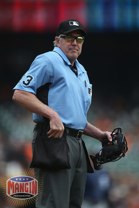 SAN FRANCISCO, CA - MAY 25:  Home plate umpire Mike Winters works the game between the San Diego Padres and San Francisco Giants at AT&T Park on Wednesday, May 25, 2016 in San Francisco, California. Photo by Brad Mangin