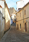 Narrow cobbled streets in medieval old town, Caceres, Extremadura, Spain