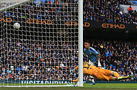 26th January 2020; Etihad Stadium, Manchester, Lancashire, England; English FA Cup Football, Manchester City versus Fulham; Gabriel Jesus of Manchester City beats Marek Rodak of Fulham to make the score 4-0