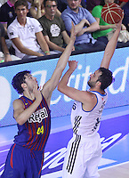 16.06.2013 Barcelona, Spain. Liga Endesa . Playoff game 4 Picture show Ante Tomic and Mirza Begic in action during game between FC Barcelona against Real Madrid at Palau Blaugrana