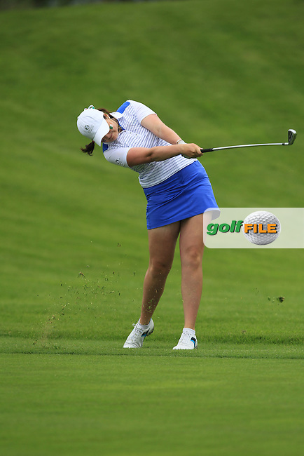 Olivia Mehaffey on the 14th during the Friday morning Foursomes of the 2016 Curtis Cup at Dun Laoghaire Golf Club on Friday 10th June 2016.<br /> Picture:  Golffile | Thos Caffrey