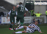 Mar McAusland tackles Paul Cairney in the St Mirren v Hibernian Clydesdale Bank Scottish Premier League match played at St Mirren Park, Paisley on 18.8.12.