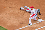4 April 2014: Atlanta Braves right fielder Jason Heyward dives safely back to first as Adam LaRoche awaits the throw in the third inning of the Washington Nationals Home Opening Game at Nationals Park in Washington, DC. The Braves edged out the Nationals 2-1 in their first meeting of the 2014 MLB season. Mandatory Credit: Ed Wolfstein Photo *** RAW (NEF) Image File Available ***