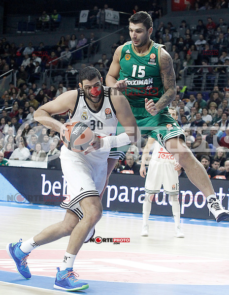 Real Madrid's Ioannis Bourousis (l) and Panathinaikos Athens' Esteban Batista during Euroleague match.January 22,2015. (ALTERPHOTOS/Acero) /NortePhoto<br />