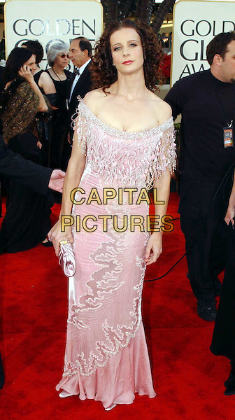 RACHEL GRIFFITH..Golden Globe Awards 2002..Ref: AW..pink dress, tassles, red carpet, full length, full-length..www.capitalpictures.com..sales@capitalpictures.com..©Capital Pictures