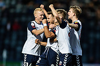 Bolton Wanderers' Dennis Politic (centre) celebrates scoring his side's second goal with his team mates<br /> <br /> Photographer Andrew Kearns/CameraSport<br /> <br /> The Carabao Cup First Round - Rochdale v Bolton Wanderers - Tuesday 13th August 2019 - Spotland Stadium - Rochdale<br />  <br /> World Copyright © 2019 CameraSport. All rights reserved. 43 Linden Ave. Countesthorpe. Leicester. England. LE8 5PG - Tel: +44 (0) 116 277 4147 - admin@camerasport.com - www.camerasport.com