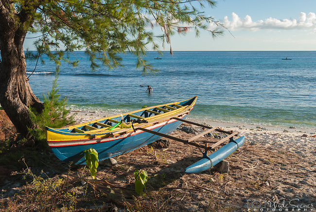 A traditional canoe on the remote island of Kiritimati in Kiribati