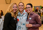 PLANTSVILLE, CT. 30 April 2018-043018BS06 - From left, Laurie Trombley of Paul Davis Restoration, Deirdre Tindall of Reverb Digital of Glastonbury, and Betsy Reed of Reed Insurance of East Hartford pose for a photo during the annual Chamber's Business Expo and Health & Wellness Fair at the Aqua Turf on Monday afternoon. Bill Shettle Republican-American
