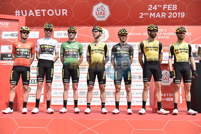 Leading team Team Jumbo-Visma with all the leaders jerseys at sign on before the start of Stage 2 of the 2019 UAE Tour, running 184km form Yas Island Yas Mall to Abu Dhabi Breakwater Big Flag, Abu Dhabi, United Arab Emirates. 25th February 2019.<br /> Picture: LaPresse/Fabio Ferrari | Cyclefile<br /> <br /> <br /> All photos usage must carry mandatory copyright credit (© Cyclefile | LaPresse/MFabio Ferrari)