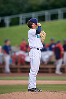 Lynchburg Hillcats relief pitcher James Karinchak (37) during the first game of a doubleheader against the Potomac Nationals on June 9, 2018 at Calvin Falwell Field in Lynchburg, Virginia.  Lynchburg defeated Potomac 5-3.  (Mike Janes/Four Seam Images)