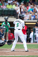 Taylor Trammell (5) of the Dayton Dragons at bat against the West Michigan Whitecaps at Fifth Third Field on May 29, 2017 in Dayton, Ohio.  The Dragons defeated the Whitecaps 4-2.  (Brian Westerholt/Four Seam Images)