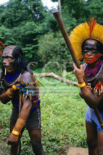 Altamira, Para State, Brazil. Kayapo warriors wearing body paint and feather headdress and carrying a borduna club. Altamira Gathering, 1989.