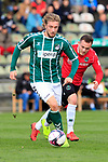28.08.2019, Stadion Lohmühle, Luebeck, GER, Regionalliga Nord VFB Lübeck/Luebeck vs Hannover 96 II <br /> <br /> DFB REGULATIONS PROHIBIT ANY USE OF PHOTOGRAPHS AS IMAGE SEQUENCES AND/OR QUASI-VIDEO.<br /> <br /> im Bild / picture shows<br /> Marcel Schelle (VfB Luebeck) im Zweikampf gegen Nikita Marusenko (Hannover 96 II).<br /> <br /> Foto © nordphoto / Tauchnitz