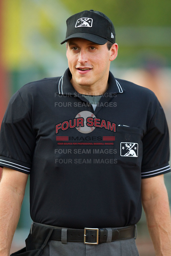 Umpire Luke Engen prior to the Appalachian League game between the Greeneville Astros and the Elizabethton Twins at Joe O'Brien Field August 15, 2010, in Elizabethton, Tennessee.  Photo by Brian Westerholt / Four Seam Images