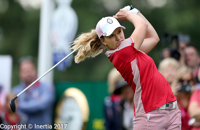 DES MOINES, IA - AUGUST 18: USA's Austin Ernst watches her tee shot on the first hole Friday morning at the 2017 Solheim Cup in Des Moines, IA. (Photo by Dave Eggen/Inertia)
