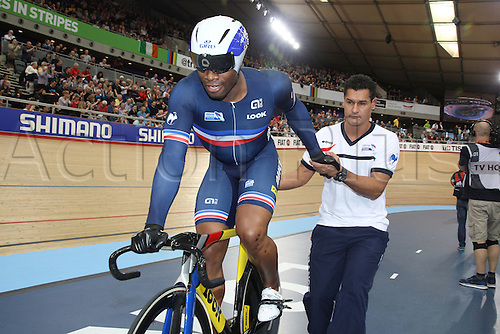 04.03.2016. Lee valley Velo Centre. London England. UCI Track Cycling World Championships Mens sprint qualifications races.   BAUGE Gregory ( France ) with Laurent Gane