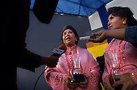 'Twin Teachers' Rian and Rossy speak to the press after receiving an award from a National Plus School for their contribution to education in Indonesia. Since the early 1990s, twin sisters Sri Rosyati (known as Rossy) and Sri Irianingsih (known as Rian) have used their family inheritance to set up and run 64 schools in different parts of Indonesia, providing primary education combined with practical skills to some of the country's most deprived children.