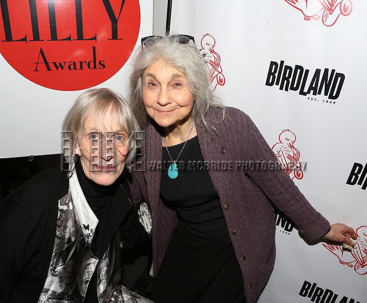 Tina Howe and Lynn Cohen backstage at 'The Lilly Awards Broadway Cabaret' at Birdland on November 10, 2014 in New York City.