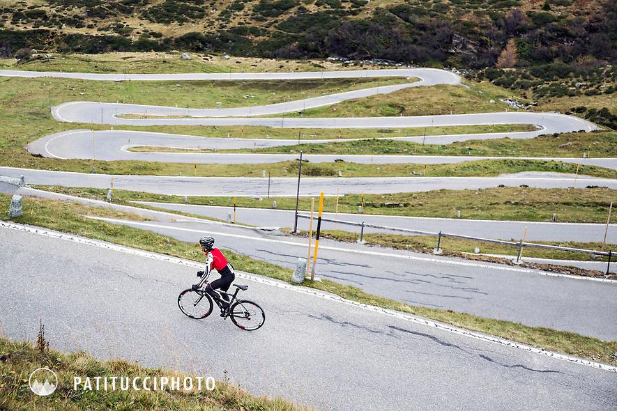 Road biking on the Splugen Pass, Switzerland