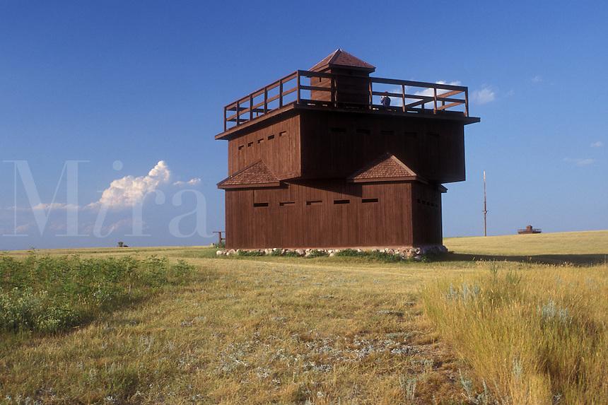 AJ0453, North Dakota, blockhouse, Infantry Post Blockhouse at Fort Abraham Lincoln State Park in Mandan.