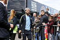 Manchester City's Sergio Aguero is greeted by the waiting fans as he arrives at Turf Moor ahead of kick-off at Turf Moor<br /> <br /> Photographer Rich Linley/CameraSport<br /> <br /> The Premier League - Burnley v Manchester City - Sunday 28th April 2019 - Turf Moor - Burnley<br /> <br /> World Copyright © 2019 CameraSport. All rights reserved. 43 Linden Ave. Countesthorpe. Leicester. England. LE8 5PG - Tel: +44 (0) 116 277 4147 - admin@camerasport.com - www.camerasport.com