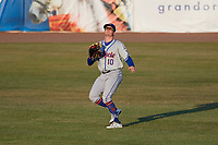 St. Lucie Mets right fielder Ian Strom (10) settles under a fly ball during a game against the Florida Fire Frogs on April 19, 2018 at Osceola County Stadium in Kissimmee, Florida.  St. Lucie defeated Florida 3-2.  (Mike Janes/Four Seam Images)