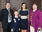 Cian McGivern Rogers who received First Holy Communion in the Church of the Nativity Ardee pictured with mother Carol and grandparents Alfie and Ann Rogers. Photo:Colin Bell/pressphotos.ie