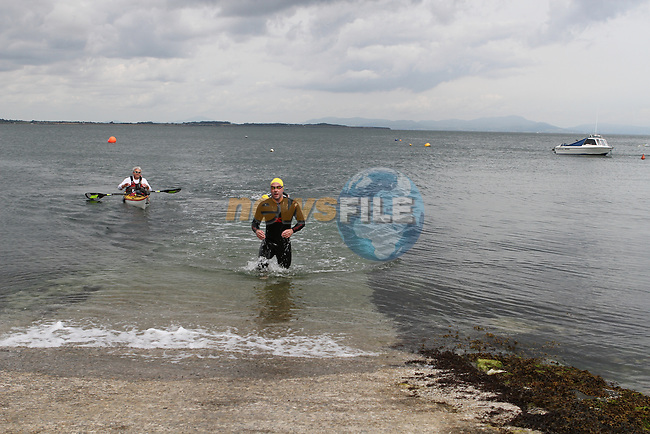 "Mark Watters who came first at the Clogherhead ""Round the Head Swim""....(Photo credit should read Jenny Matthews/NEWSFILE)..."
