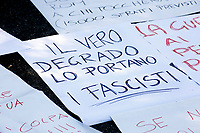 Banner, the real decay is brought by fascists<br /> Rome April 6th 2019. Counterdemonstration of activists from the anti-fascist movements in the Torre Maura district of Rome, two days after Rome residents and neo-fascists burned bins and shouted racist slogans at Roma families being temporarily hosted in their neighborhood. <br /> photo di Samantha Zucchi/Insidefoto