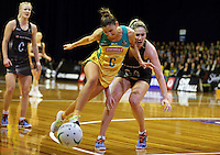 12.10.2016 Silver Ferns Te Paea Selby-Rickit and Australia's Kim Ravaillion in action during the Silver Ferns v Australia netball test match played at the Silver Dome in Launceston in Australia.. Mandatory Photo Credit ©Michael Bradley.