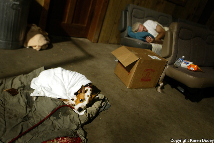 A dog finds little solace in his new surroundings as he sleeps on a bed made specially for him beside one of the volunteers in the Pasado's barn.  The volunteer is sleeping on seats which had been removed from the back of the rescue vans.  Like the animals, the volunteers had to adjust to their temporary surroundings.