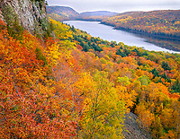 Porcupine Mountains Wilderness State Park, MI<br /> Lake of the Clouds in Carp River Valley from the Escarpment Trail with forest in fall color