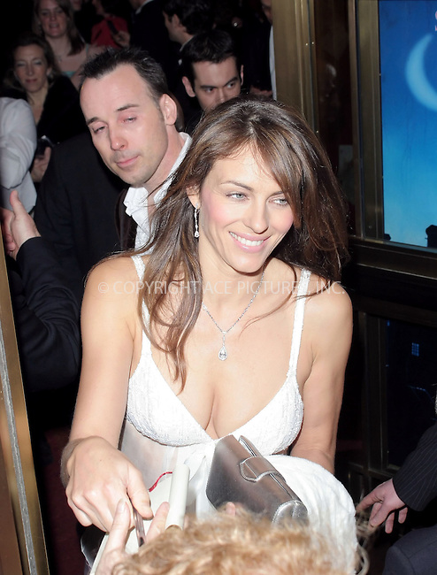 WWW.ACEPIXS.COM . . . . .  ... . . . . US SALES ONLY . . . . .....LONDON, MARCH 17, 2005....Elizabeth Hurley and David Furnish at the Mary Poppins gala evening held at the Prince Edward Theatre. London, 17 March 2005. ....Please byline: FAMOUS-ACE PICTURES-M. GILLIAM... . . . .  ....Ace Pictures, Inc:  ..Craig Ashby (212) 243-8787..e-mail: picturedesk@acepixs.com..web: http://www.acepixs.com