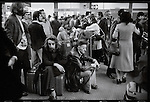 Foreigners at Mehrabad Airport waiting on flights to leave Iran. Tehran, January 2, 1979.