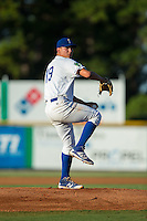 Burlington Royals starting pitcher Garrett Davila (19) in action against the Princeton Rays at Burlington Athletic Stadium on August 12, 2016 in Burlington, North Carolina.  The Royals defeated the Rays 9-5.  (Brian Westerholt/Four Seam Images)