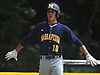 Johnny Castagnozzi #10 of Massapequa reacts after hitting an RBI triple in the top of the second inning of the Nassau County varsity baseball Class AA final against Oceanside at SUNY Old Westbury on Saturday, May 26, 2018. Massapequa won 6-5 to take Game 1 of the best-of-three series.