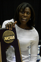 BERKELEY, CA - MARCH 30: Assistant coach Bobbie Kelsey holding the regional champions trophy following Stanford's 74-53 win against the Iowa State Cyclones on March 30, 2009 at Haas Pavilion in Berkeley, California.