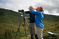 June 7, 2012, Ron Karpilo and Jenna Hamm repeating a historic photo of Camp Denali, Denali National Park and Preserve, Alaska. Photo by Lacy Karpilo.