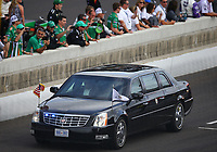 May 28, 2017; Indianapolis, IN, USA; The limousine motorcade with Vice President of the United States Mike Pence and wife Karen Pence drives down pit road prior to the IndyCar Series 101st Running of the Indianapolis 500 at Indianapolis Motor Speedway. Mandatory Credit: Mark J. Rebilas-USA TODAY Sports